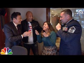 Jimmy and Dwayne Johnson Surprise ''Tonight Show'' Staffer with Military Homecoming
