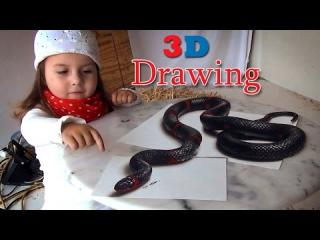 3D Drawing of a Lifelike Snake | Painting Optical Illusion!