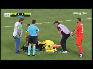Greek stretcher bearers drop injured player while taking him off pitch!